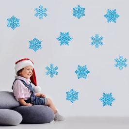 Housedecor Samolepka na stenu Modré vločky 70x50cm