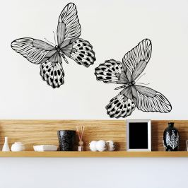 Housedecor Samolepka na stenu 2 čierne motýle 90x60 cm