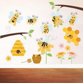 Housedecor Samolepka na stenu Honey bee 90x60 cm