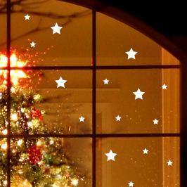 Ambiance Dekoračné samolepky na sklo-15ks bielych hviezdičiek