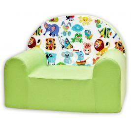 Baby Nellys Detské kresielko Veselá zvieratká v zelenej