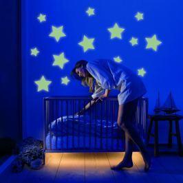 Housedecor Veľká svietiaca samolepka na stenu Hviezdy