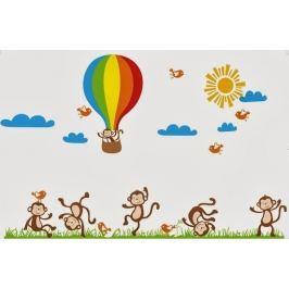 Ambiance Dekoračné samolepky - opičky, vtáky a balón