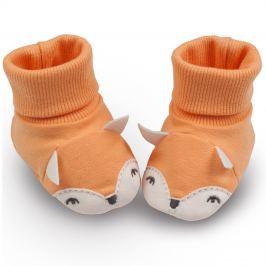 Pinokio Detské topánočky / ponožky s líškou - oranžové