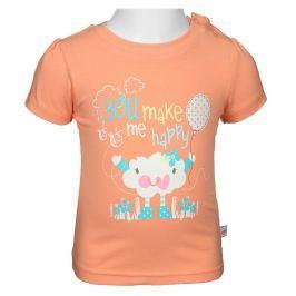 Blue Seven Dievčenské tričko s mráčikov - lososové