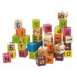 WOODY Farebné kocky s písmenami a číslami, 40 ks