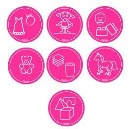 Mamiee Samolepky na hračky pre dievčatá ružové - súprava 7 ks