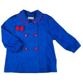 MMDadak Dievčenské krátky kabát s mašličkou KOKARDK - modrý