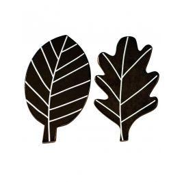 Little Lovely Company Drevené háčiky Čierne lístky, 2 ks