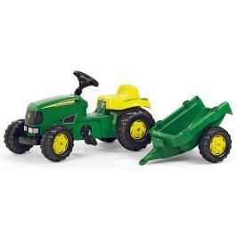 Rolly Toys Šliapací traktor Junior John Deere s radlicou a prívesom, zelený