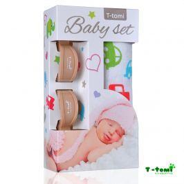 T-tomi Baby súprava - bambusová osuška autá + kočíkový štipček béžový