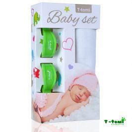 T-tomi Baby súprava - bambusová osuška biela + kočíkový štipček zelený
