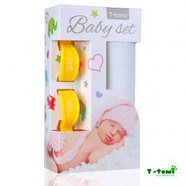T-tomi Baby súprava - bambusová osuška biela + kočíkový štipček žltý