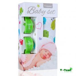 T-tomi Baby súprava - bambusová osuška vtáčiky + kočíkový štipček zelený