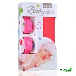T-tomi Baby súprava - bambusová osuška ružová + kočíkový štipček ružový