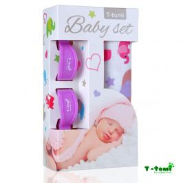 T-tomi Baby súprava - bambusová osuška ručové slony + kočíkový štipček fialový