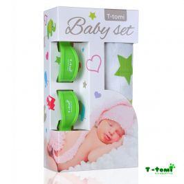 T-tomi Baby súprava - bambusová osuška zelené hviezdičky + kočíkový štipček zelený