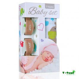 T-tomi Baby súprava - bambusová osuška zeleňou slony + kočíkový štipček béžový