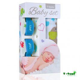 T-tomi Baby súprava - bambusová osuška zeleňou slony + kočíkový štipček modrý