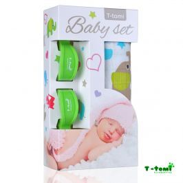 T-tomi Baby súprava - bambusová osuška zeleňou slony + kočíkový štipček zelený