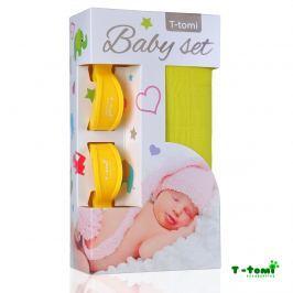 T-tomi Baby súprava - bambusová osuška žltá + kočíkový štipček