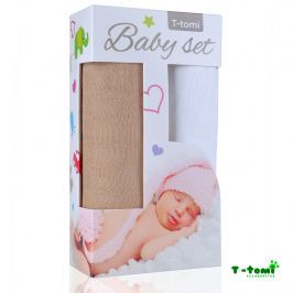 T-tomi Baby súprava - bambusová osuška béžová + bambusová osuška biela