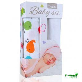 T-tomi Baby súprava - bambusová osuška vtáčiky + bambusová osuška biela