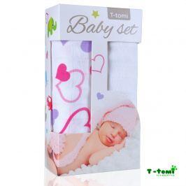 T-tomi Baby súprava - bambusová osuška srdiečka + bambusová osuška biela
