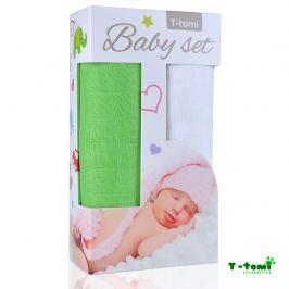 T-tomi Baby súprava - bambusová osuška zelená + bambusová osuška biela