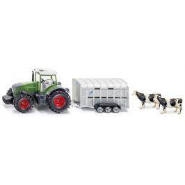 SIKU Super - Traktor John Deere s prívesom na prepravu dobytka vr. 2 kráv, 1:50
