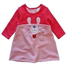 Gelati Dievčenské šaty s králikom - červeno-ružové