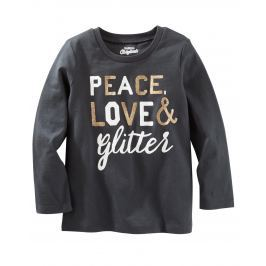 Oshkosh Detské tričko Peace - tmavo šedé