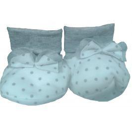 Lafel Dievčenské bodkované ponožky / capáčky Cat - bielo-šedé