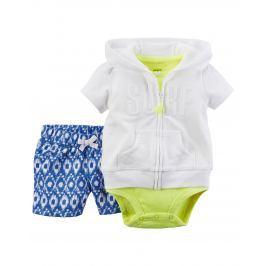 Carter's Dievčenský trojkomplet body, šortky a mikina - bielo-zeleno-modrý