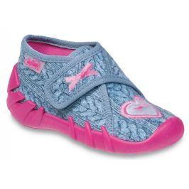 Befado Dievčenské papučky s vlneným vzorom a srdiečkom Speedy - svetlo modré