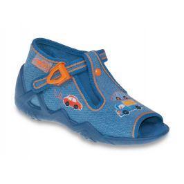 Befado Chlapčenské papučky s autíčkami Snake - modré