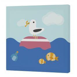 Happynois Nástenný obraz Yellow Submarine - čajka a rybičky, 27x27 cm