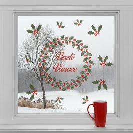 Housedecor Samolepky na sklo Veniec a Veselé Vianoce