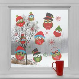 Housedecor Samolepky na sklo Vianočné sovičky
