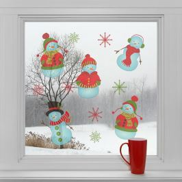 Housedecor Samolepky na sklo Snehuliaci