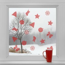 Housedecor Samolepky na sklo Červené dekorácie