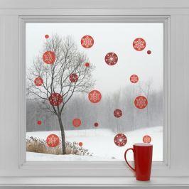 Housedecor Samolepky na sklo Okrúhle vločky červené