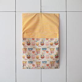 Bartex Design Závesný vreckár na ramienko Sovičky - béžovo-žltý
