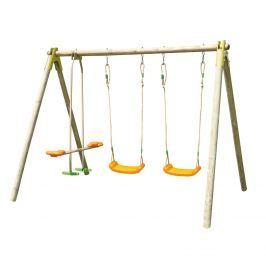 Trigano Hojdačka záhradná veľká celodrevená - 2 sedadlá + 1 hojdací klzák