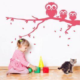 Housedecor Samolepka na stenu Tri sovy na vetve - ružová