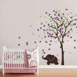 Housedecor Samolepka na stenu Sloníča a strom fialovo-zelený
