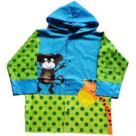 PIDILIDI Detská pláštenka s opičkou a žirafou - zeleno-modrá