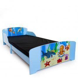 Homestyle4U Detská drevená posteľ Oceán