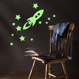Fanastick Nástenná svietiaca samolepka Raketa s hviezdami