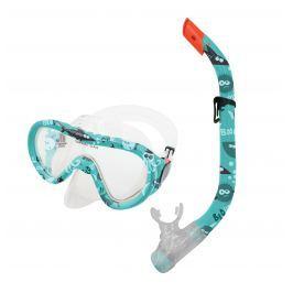 Spokey TAHITI JUNIOR-Súprava okuliare + šnorchel zelený vodný svet